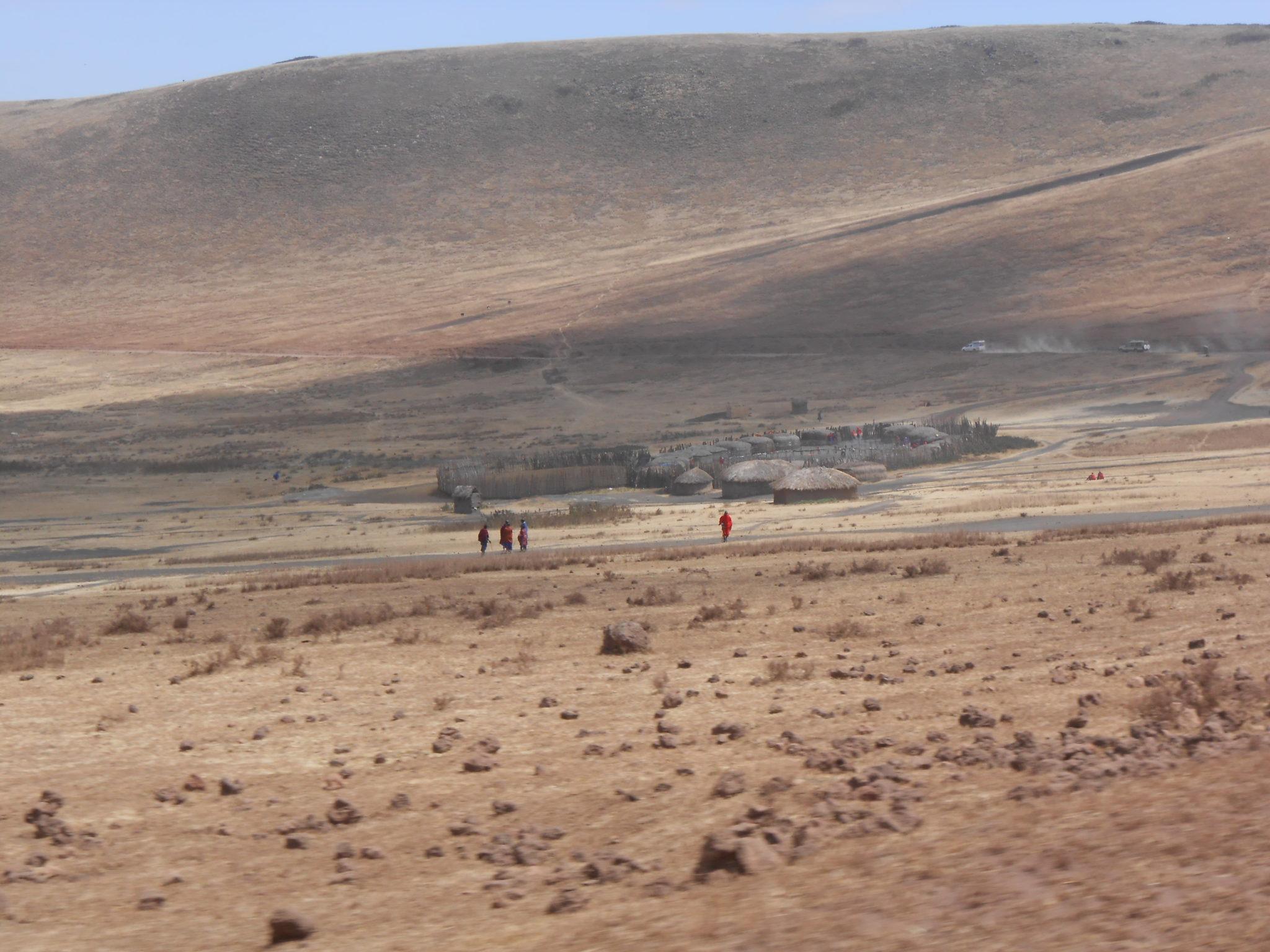 Een Masai-dorp woestijnvlakte in de NCA