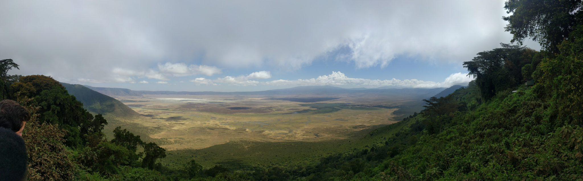 Panoramafoto van het uitzicht op de krater van op het Ngorongoro view point